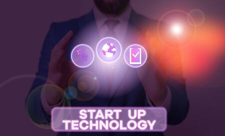 Word writing text Start Up Technology. Business photo showcasing Young Technical Company initially Funded or Financed