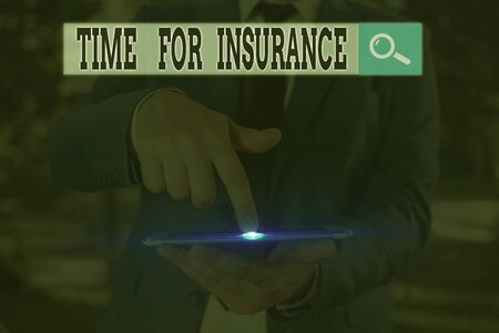 Text sign showing Time For Insurance. Business photo text receives Financial Protection Reimbursement against Loss Stock Photo