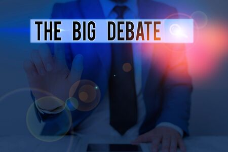 Text sign showing The Big Debate. Business photo text Lecture Speech Congress presentation Arguments Differences