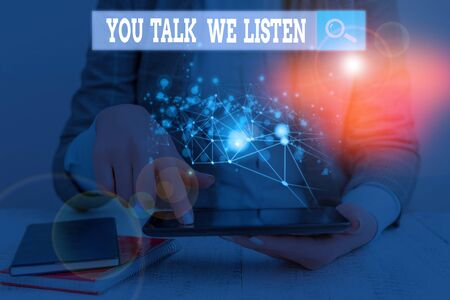 Handwriting text writing You Talk We Listen. Conceptual photo Two Way Communication Motivational Conversation Фото со стока
