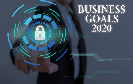 Word writing text Business Goals 2020. Business photo showcasing Advanced Capabilities Timely Expectations Goals