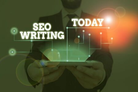 Conceptual hand writing showing Seo Writing. Concept meaning grabbing the attention of the search engines using specific word