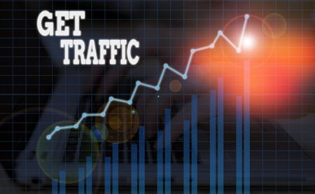 Word writing text Get Traffic. Business photo showcasing amount of data sent and received by visitors to a website
