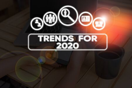 Conceptual hand writing showing Trends For 2020. Concept meaning list of things that got popular very quickly in this year Stock Photo - 134471935