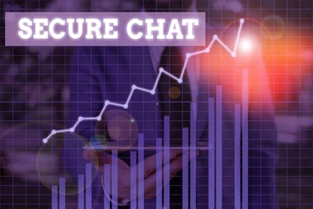 Word writing text Secure Chat. Business photo showcasing approach to protect messages when sent beyond the corporate Banco de Imagens