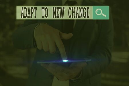 Text sign showing Adapt To New Change. Business photo text Get Used to Latest Mindset and Behavior Innovation