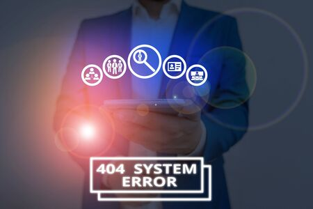 Handwriting text 404 System Error. Conceptual photo message appears when website is down and cant be reached