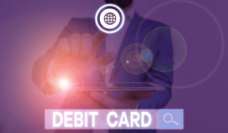 Word writing text Debit Card. Business photo showcasing card that deducts money directly from a demonstrating s is checking account