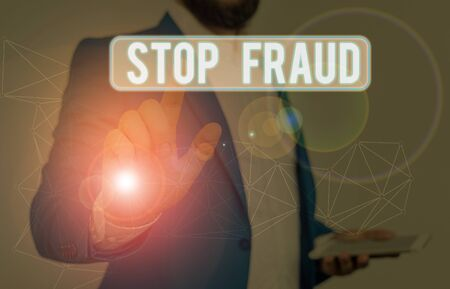 Word writing text Stop Fraud. Business photo showcasing campaign advices showing to watch out thier money transactions