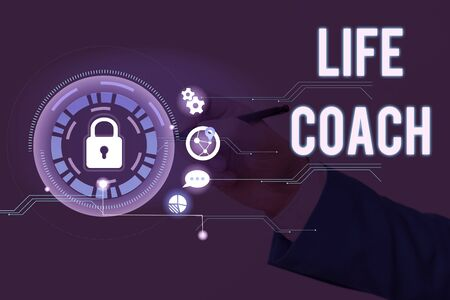 Conceptual hand writing showing Life Coach. Concept meaning someone who helps identify your goals and plan to achieve them