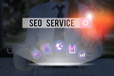 Handwriting text writing Seo Service. Conceptual photo suite of techniques and procedures to surge website visibility