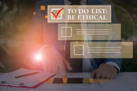 Conceptual hand writing showing To Do List Be Ethical. Concept meaning plan or reminder that is built in an ethical culture