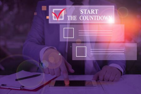 Conceptual hand writing showing Start The Countdown. Concept meaning Sequence of Backward Counting to Set the Timer