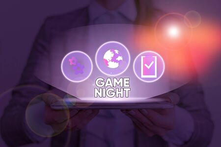 Text sign showing Game Night. Business photo text event in which folks get together for the purpose of getting laid