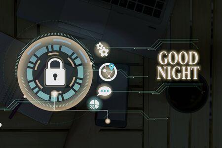 Koncepcyjne pismo ręczne Wyświetlono dobranoc. Pojęcie oznaczające wyrażanie dobrych życzeń po rozstaniu w nocy lub przed pójściem spać