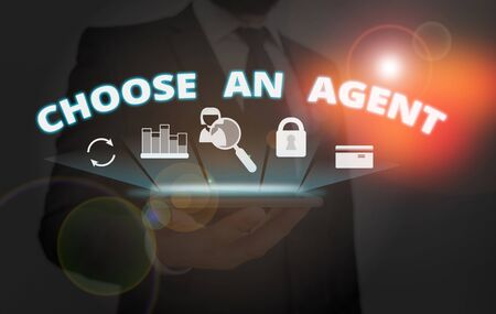 Writing note showing Choose An Agent. Business concept for Choose someone who chooses decisions on behalf of you