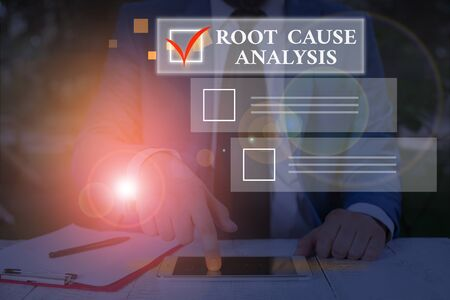 Conceptual hand writing showing Root Cause Analysis. Concept meaning Method of Problem Solving Identify Fault or Problem Stock Photo
