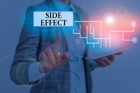 Text sign showing Side Effect. Business photo showcasing typically undesirable effect of a drug or medical treatment