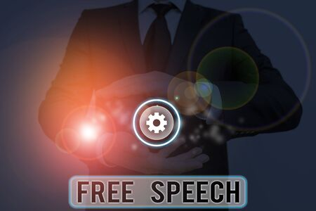 Text sign showing Free Speech. Business photo showcasing the right of showing to express their opinions publicly