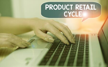 Text sign showing Product Retail Cycle. Business photo showcasing as brand progresses through sequence of stages 写真素材