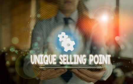 Word writing text Unique Selling Point. Business photo showcasing Differentiate a Product Specific Features and Benefits