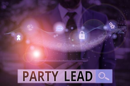 Writing note showing Party Lead. Business concept for acts as the official representative of their political party