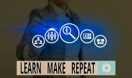 Text sign showing Learn Make Repeat. Business photo showcasing Once you do it will be easy fast learner fix mistakes Foto de archivo