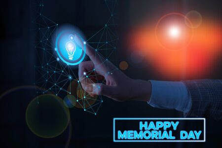 Text sign showing Happy Memorial Day. Business photo text Honoring Remembering those who died in military service
