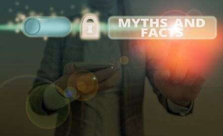 Text sign showing Myths And Facts. Business photo text Oppositive concept about modern and ancient period