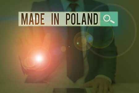 Text sign showing Made In Poland. Business photo text A product or something that is analysisufactured in Poland Archivio Fotografico