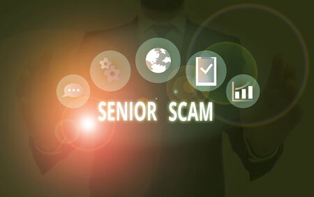 Handwriting text Senior Scam. Conceptual photo fraud schemes targeting the lifestyle and savings of the elderly Stock Photo