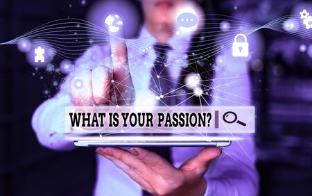 Conceptual hand writing showing What Is Your Passion Question. Concept meaning asking about his strong and barely controllable emotion Picture photo network scheme with modern smart device