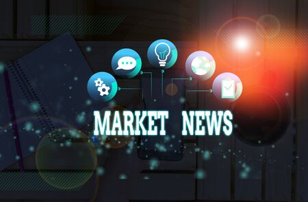 Handwriting text Market News. Conceptual photo Commercial Notice Trade Report Market Update Corporate Insight