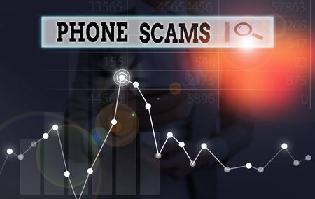 Handwriting text writing Phone Scams. Conceptual photo use of telecommunications for illegally acquiring money Stock Photo