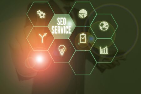 Conceptual hand writing showing Seo Service. Concept meaning suite of techniques and procedures to surge website visibility