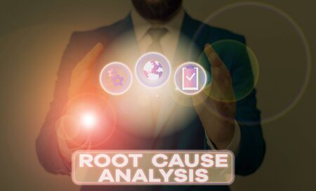 Word writing text Root Cause Analysis. Business photo showcasing Method of Problem Solving Identify Fault or Problem 스톡 콘텐츠
