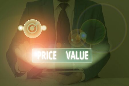 Text sign showing Price Value. Business photo showcasing the price of a product based on what customers think or valued