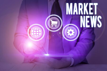 Conceptual hand writing showing Market News. Concept meaning Commercial Notice Trade Report Market Update Corporate Insight