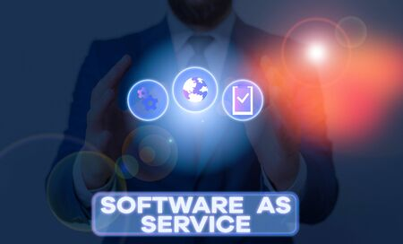 Word writing text Software As Service. Business photo showcasing On Deanalysisd licensed on Subscription and centrally hosted