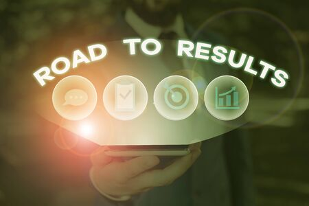 Word writing text Road To Results. Business photo showcasing Business direction Path Result Achievements Goals Progress