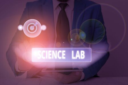 Text sign showing Science Lab. Business photo showcasing special facility where experiments are done and with equipment