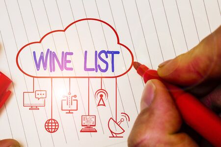Writing note showing Wine List. Business concept for menu of wine selections for purchase typically in a restaurant Zdjęcie Seryjne - 134162129