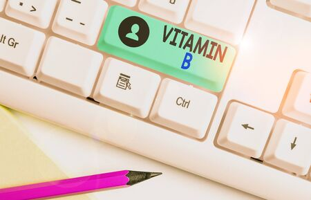 Writing note showing Vitamin B. Business concept for Nutrient that helps keep the body nerve and blood cells healthy