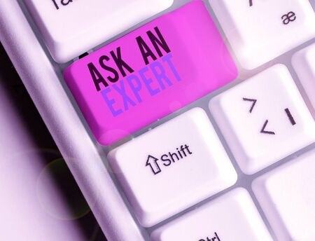 Text sign showing Ask An Expert. Business photo text Superior Reliable Ace Virtuoso Curapp storeity Authority Geek Zdjęcie Seryjne - 134161753