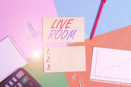 Conceptual hand writing showing Live Room. Concept meaning the room in a house or apartment that is used for relaxing in Office appliance square desk study supplies paper sticker Archivio Fotografico