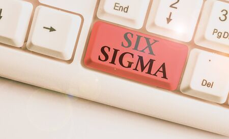 Conceptual hand writing showing Six Sigma. Concept meaning set of analysisagement techniques intended to improve business process 写真素材