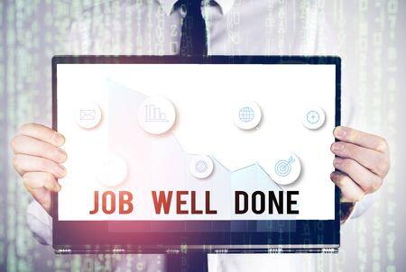 Word writing text Job Well Done. Business photo showcasing Well Performed You did it Cheers Approval Par Accomplished