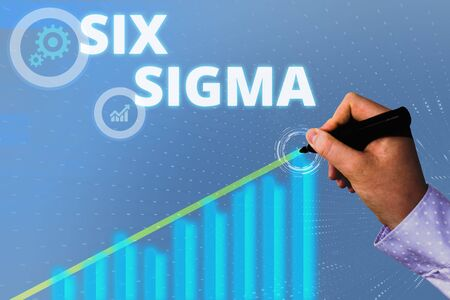 Text sign showing Six Sigma. Business photo showcasing set of analysisagement techniques intended to improve business process 写真素材