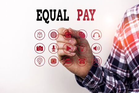 Conceptual hand writing showing Equal Pay. Concept meaning Rights that individuals in the same workplace be given equal pay