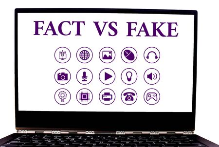 Conceptual hand writing showing Fact Vs Fake. Concept meaning Rivalry or products or information originaly made or imitation